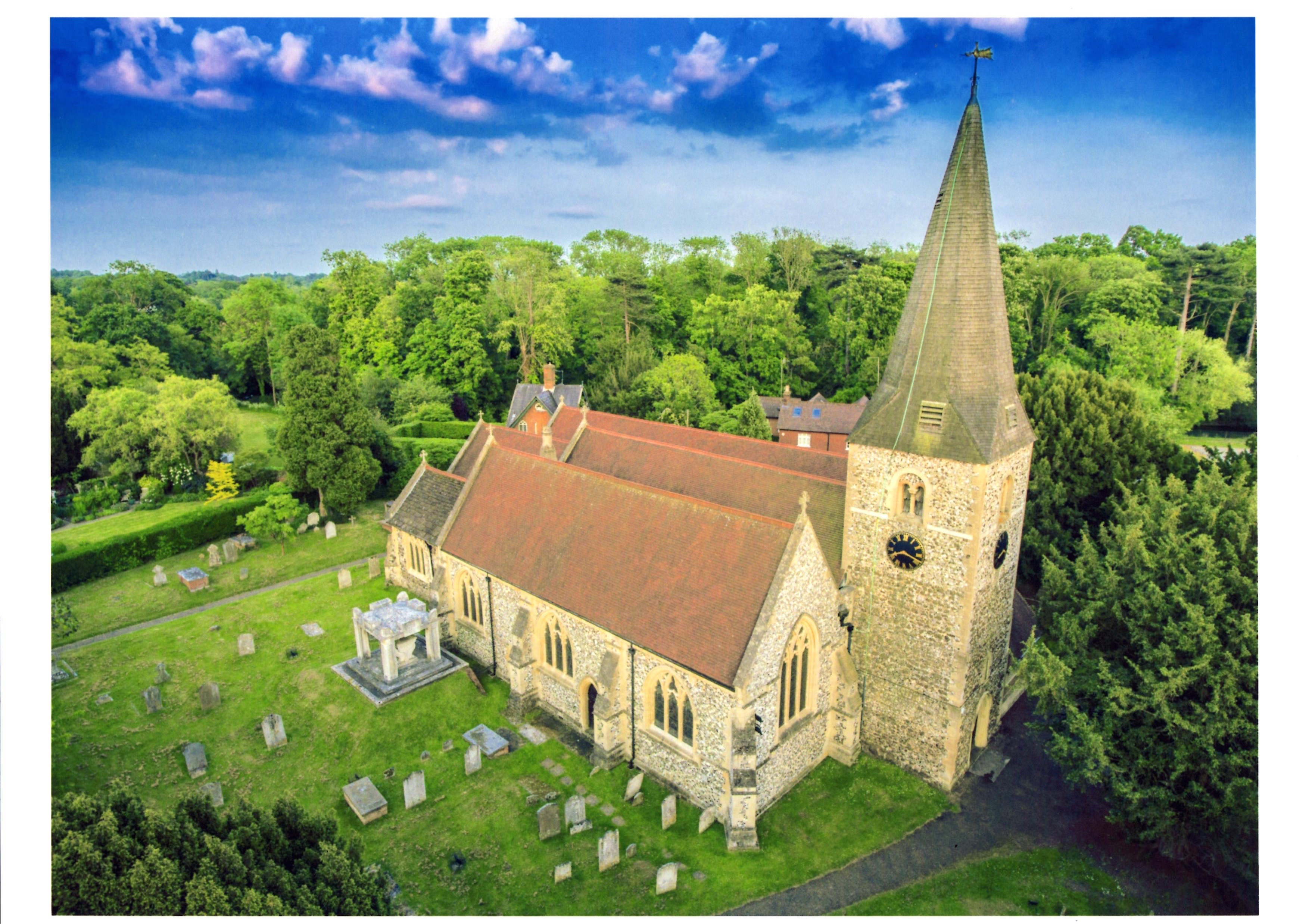Aerial Photo of St Andrews Church Cobham